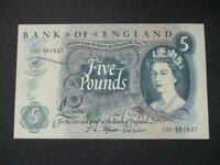 J S FFORDE FIVE POUNDS NOTE 1967 DUGGLEBY REF B314 ABOUT UNCIRCULATED £5 NOTE