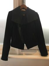 Kaelen Black Grey Wool Cropped Coat Jacket Leather Trim XS
