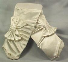 White Satin Gloves Gauntlets Bows Fingerless Wedding Bridal Prom Evening NOS