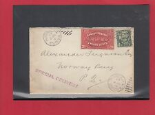 E2 special delivery Scroll issue 20c + 2c Norway BAy PQ 1929 many handstamps