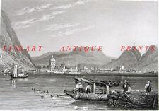 Italy, Lombardy LAGO LAKE COMO CASTLE VILLAS, 1829 Landscape Art Print Engraving