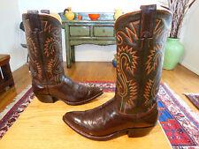 Vtg NOCONA Tall Sexy Chocolate Brn Leather Fancy Western Cowboy Boots 7.5D