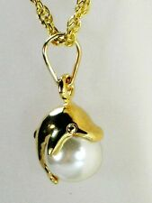 Dolphin pearl 18K yellow gold filled 18 inch rope chain necklace