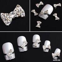 10Pcs Lot 3D Clear Alloy Rhinestone Bow Tie Nail Art Slices Diy Decorations