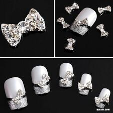 Lot 10Pcs 3D Clear Alloy Rhinestone Bow Tie Nail Art Slices Diy Decorations