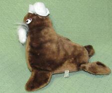 "Vintage Walrus Wonder Toys Brown White Beard Tusks Felt Cap 11"" Tall Plush Toy"