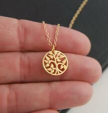 Stunning Gold Tree of Life Round Charm Pendant Nature Tree Leaves Necklace