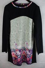 Silvian Heach Floral Panel Black Shift Mini Dress - Tunic Style - Size L