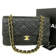 CHANEL Double Flap 25 Quilted CC Logo Lambskin w/Chain Shoulder Bag Black/oFEG x