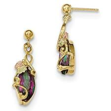 10k Tri Color Gold Black Hills Gold Mystic Topaz Dangle Post Earrings 22mm x 7mm