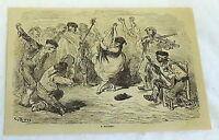 1880 magazine engraving~ A BOLERO ~ Latin Music band and woman Dancing ~ Spain