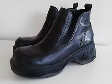 Goth Punk New Wave Black Leather Chunky Boots By Pod EU 41 Mens Size 7 Womens 8