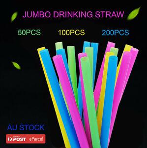 50-200pcs Jumbo Straw Neon Colour Plastic Drinking Straws Smoothies Milkshake