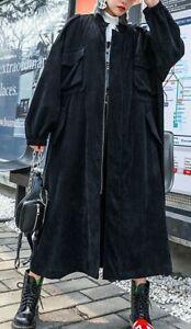WOMEN BLACK OVERSIZED CORDUROY ONE LAYER LONG JACKET COAT NEW 1 SIZE BUST 146 CM