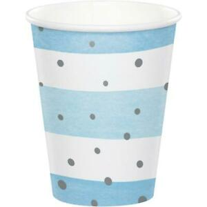 Blue and Silver Foil Paper Cups, Welcome Baby Boy, Baby Shower Decorations