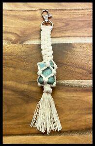 NEW Handmade Boho Neutral Macrame Amazonite Crystal Keyring Keychain 19cm