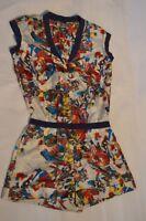 Alexander McQueen MCQ Silk Multicolour Zip Playsuit Jumpsuit Womens IT44 UK12