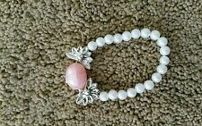 bracelet girls pink white stretch w silver plastic preowned free post D15