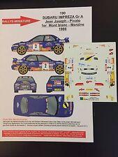 DECALS 1/43 SUBARU IMPREZA WRC SIMON JEAN JOSEPH RALLYE MONT BLANC 1998 RALLY