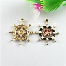 Lots 10pcs Gold Enamel Red Boat Anchor Alloy Pendant Jewelry DIY Making 51531