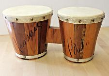 Vintage Bongo Drums Nassau Bahamas Islands Carved Wood  Leather Skin 1970's