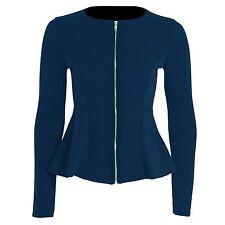 New Women's Ladies Zip Peplum Ruffle Tailored Blazer Jacket Top Size 8-14