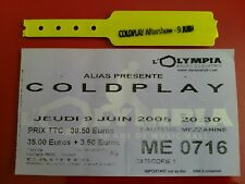 TICKET CONCERT - COLDPLAY - 9 JUIN 2005 - OLYMPIA - PARIS - USED