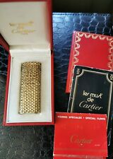 Luxury Rare & Vintage Cartier 18ct Solid Gold Basket Weave Lighter Boxed/Papers