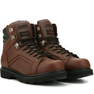 """Texas Steer Men's Work Boots Leather 6"""" Brown Soft Toe Wide Width Boots 20130"""