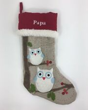 Pottery Barn Kids Christmas Stocking Owls Papa Quilted