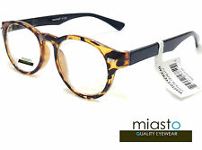 MIASTO RETRO ROUND PREPPY READER READING GLASSES+2.50 TORTOISE BROWN ~BIFOCAL~