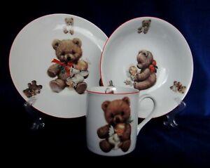 """Bear and Angel""  Kids Dinnerware Plates and Mug Kit"