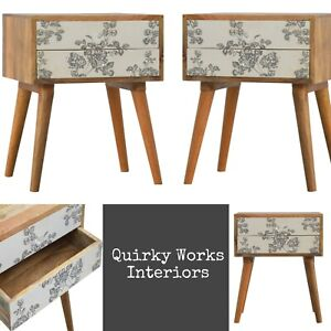 PAIR Scandinavian Danish Style Bedside Cabinets Bedside Table Black White Floral