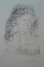 "Salvador Dali ""Portrait of La Fontain"" Original Drypoint Etching Stencil S/N"
