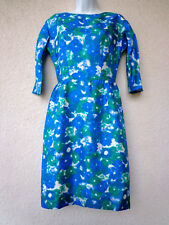 """Vintage 1950s Cocktail DRESS Wiggle Pencil SILK 60s PinUp Party Blue Green B 36"""""""