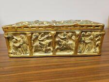 Antique Pompeian Bronze Jewelry Box Casket