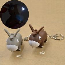 KAWAI Donkey Keychain With LED Light and Sound Bag Car Key Ring Novelty Lovely