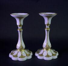 Biedermeier Kerzenleuchter Paar - Milchglas mit Goldbemalung