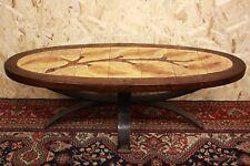 Tavolo tavolino ovale in legno ferro battuto con piastrelle decorative firmato