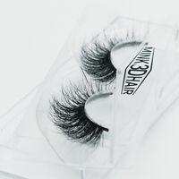 100% Real Mink 3D False Eyelashes Cross Long Messy Eye Lashes Soft Design 1 Pair