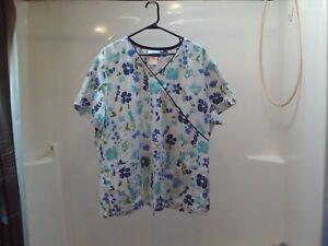 SB Scrubs Short Sleeve Pullover  Large Pockets Multi-Color 2XL Floral