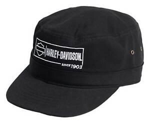 Harley-Davidson Men's Label Lockup Adjustable Closure Twill Painter's Hat- Black