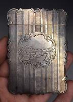 Antique RARE Nathaniel Mills Victorian Silver Calling Card Case  Birmingham