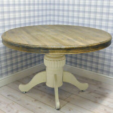 Factory Second Farmhouse Shabby Chic Cream Painted Wooden Dining Pedestal Table