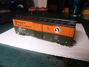 HO Great Northern box car with kadee couplings, retiring from train hobby