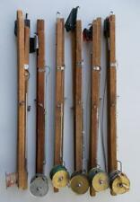 """New listing 6 Vintage Wooden Ice Fishing Tip Up Traps with Reels, Line & Hooks 20"""" Long"""