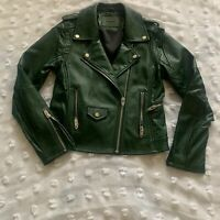 BLANK NYC FAUX LEATHER JACKET ASYMMETRICAL ZIP MOTO BIKER VEGAN GREEN SIZE M