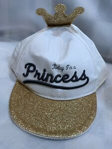 Today I'm A Princess White Gold Sparkles Adjustable 4-6Y Girls Kids Ball Cap Hat