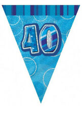 Unique Party UK Blue Glitz 40th Birthday Flag Banner 12ft 55305