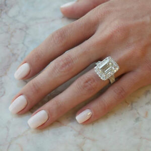 Solid 10K White Gold 2.85 Ct Emerald Cut Moissanite Halo Engagement Wedding Ring